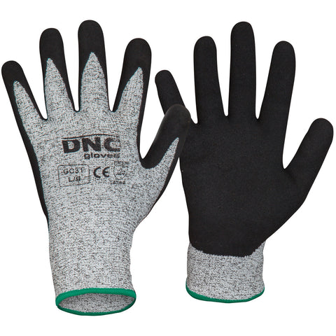DNC Workwear-DNC Cut5 - Nitrile Sandy Shinish-S / Black/Grey-Uniform Wholesalers