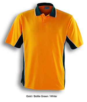 Bocini-Bocini Men's Breezeway Panel Polo(1st 10 colors)-Gold/Bottle Green/White / S-Uniform Wholesalers - 1