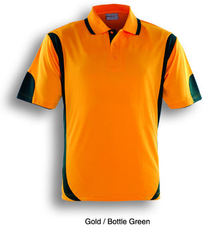 Bocini-Bocini Adults Breezeway Contrast Polo(1st 12 colors)-Gold/Bottle Green / S-Uniform Wholesalers - 7