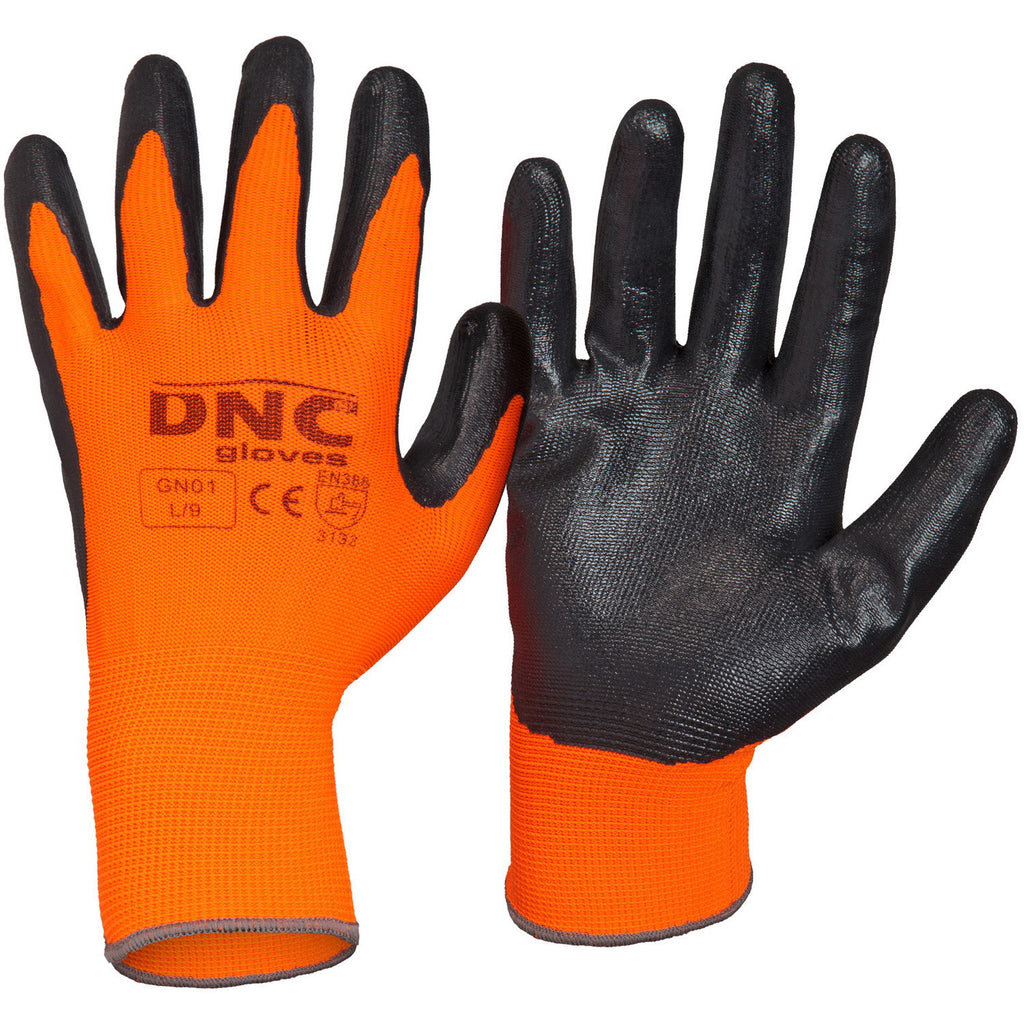 DNC Workwear-DNC Nitrile Basic/Smooth Finish-Black/HiVis Orange / S-Uniform Wholesalers