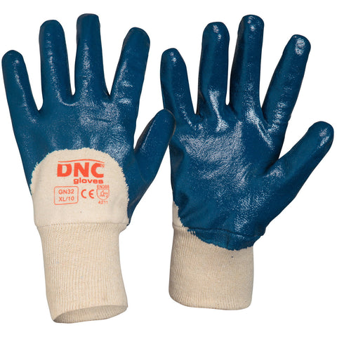 DNC Workwear-DNC Blue Nitrile 3/4 Dip-L / Blue/Nature-Uniform Wholesalers