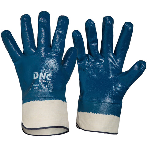 DNC Workwear-DNC Blue Nitrile Full Dip with Canvas Cuff-M / Blue/Nature-Uniform Wholesalers
