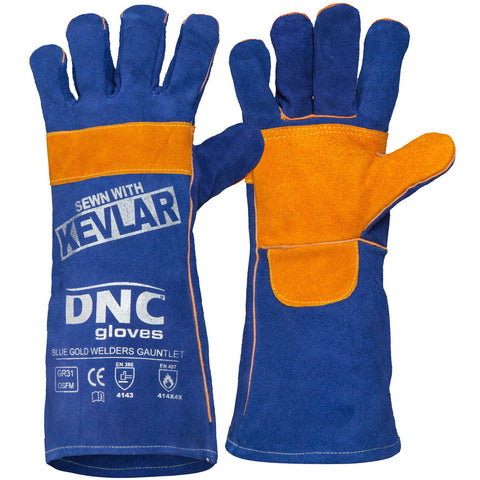 DNC Workwear-DNC Blue Gold Welders Gauntlet-Blue-Uniform Wholesalers