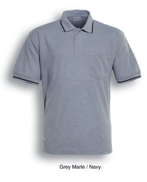 Bocini-Bocini Pocket Polo-Gery Marle/Navy / S-Uniform Wholesalers - 2