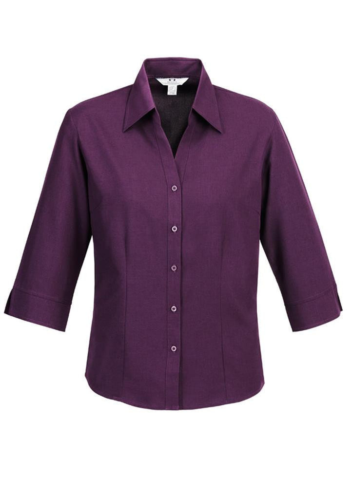 Biz Collection-Biz Collection Ladies Plain Oasis Shirt-3/4 Sleeve-Grape / 6-Uniform Wholesalers - 6