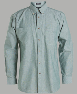 JB's Wear-JB's Cotton Chambray Shirt-S / Chambray Green L/S-Uniform Wholesalers - 5