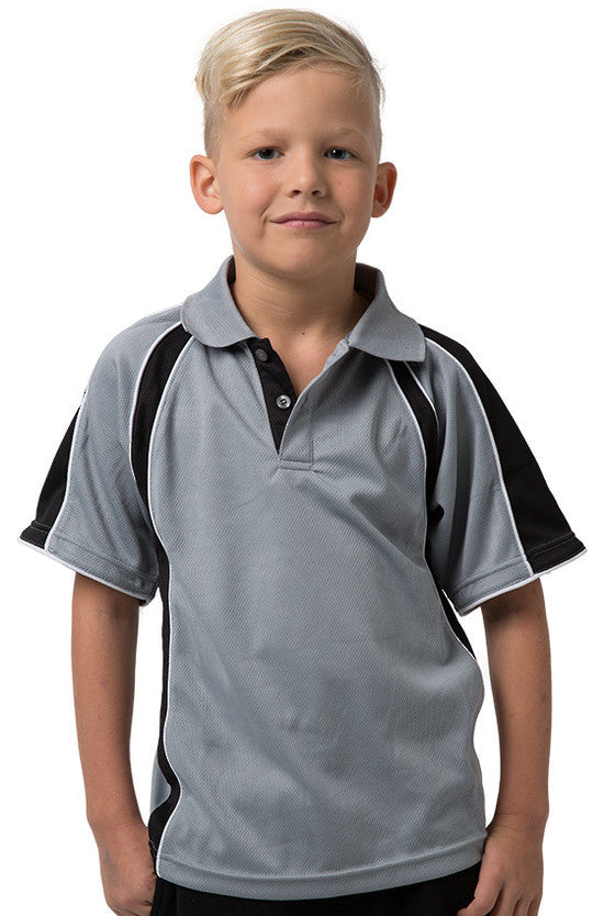 Be Seen-Be Seen Kids Polo Shirt With Contrast Sleeve Edge Piping-Grey-Black-White / 6-Uniform Wholesalers - 8