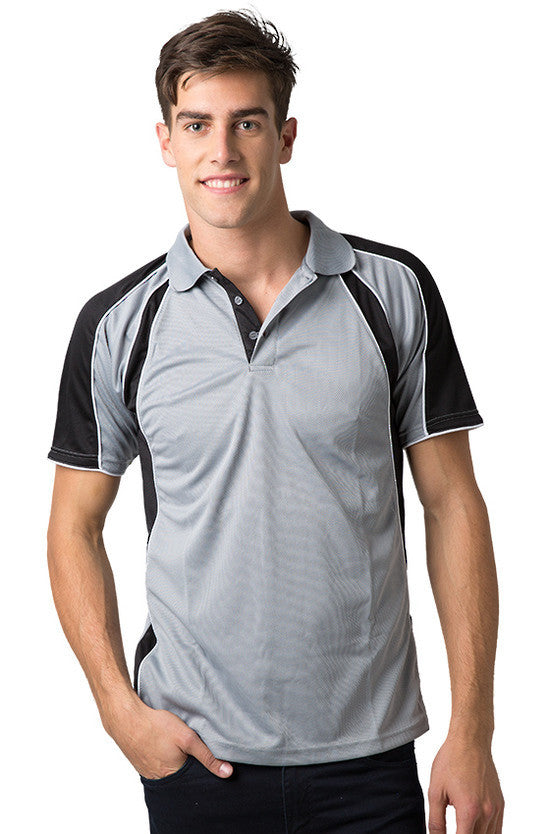 Be Seen-Be Seen Men's Polo Shirt With Contrast Sleeve 1st( 8 Color )-Grey-Black-White / XS-Uniform Wholesalers - 8