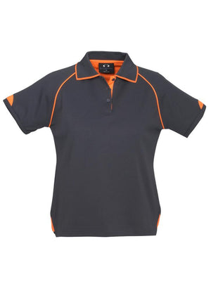 Biz Collection-Biz Collection Ladies Fusion Polo-Grey / Fluro Orange / 8-Uniform Wholesalers - 3