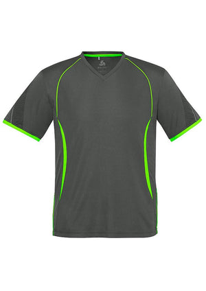 Biz Collection-Biz Collection Mens Razor Tee-Grey/Fluoro Lime / S-Uniform Wholesalers - 5