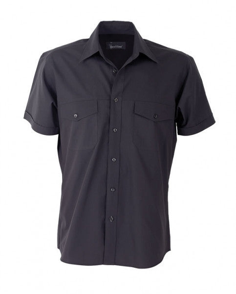 identitee-Identitee Mens Harley Short Sleeve-Gun Metal / S-Uniform Wholesalers - 3