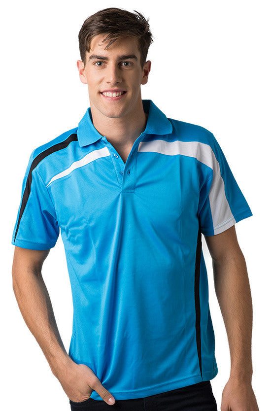 Be Seen-Be Seen Adults Polo Shirt With Contrast Side And Shoulder Panel-Hawaiian Blue-Black-White / S-Uniform Wholesalers - 9