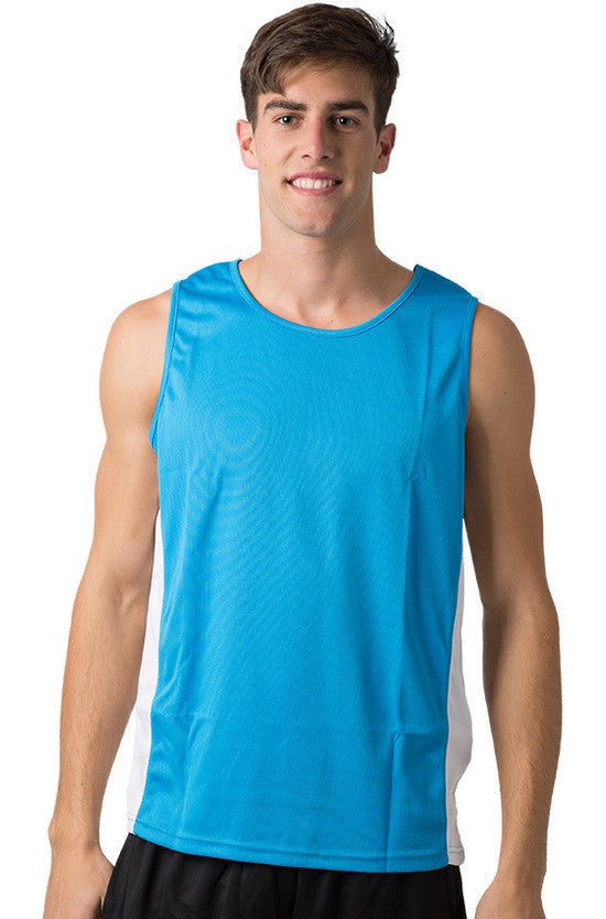 Be Seen-Be Seen Men's Singlet With Contrast Side Panels With Contrast Piping 1st( 7 Color )-Hawaiian Blue-White-White / L-Uniform Wholesalers - 3