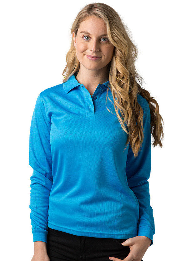 Be Seen-Be Seen Ladies Long Sleeve Plain Polo Shirt With Ribbed Cuffs-Hawaiian Blue / 8-Uniform Wholesalers - 2