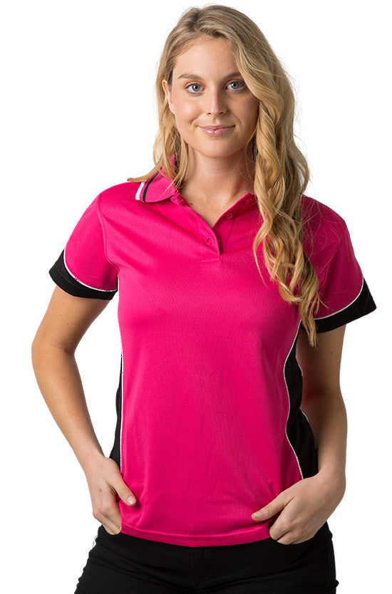 Be Seen-Be Seen Ladies Polo Shirt With Striped Collar 1st( 12 Color )-Hot Pink-Black-White / 8-Uniform Wholesalers - 9