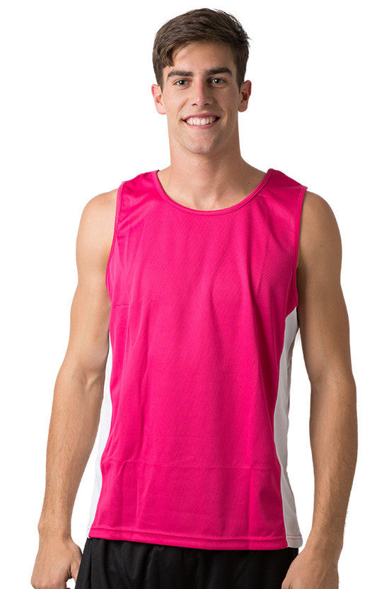 Be Seen-Be Seen Men's Singlet With Contrast Side Panels With Contrast Piping 1st( 7 Color )-Hot Pink-White-White / L-Uniform Wholesalers - 5