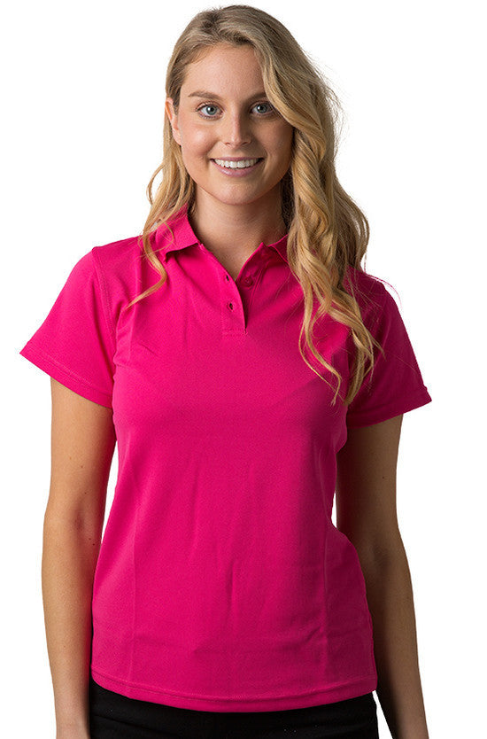 Be Seen-Be Seen Ladies Plain Polo Shirt With Herringbone Tape At Neck-Hot Pink / 8-Uniform Wholesalers - 6