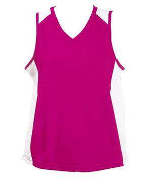 Australian Spirit-Aus Spirt Olympikool Ladies Singlet 2nd ( 9 Colour )-Hot Pink/White / 8-Uniform Wholesalers - 2