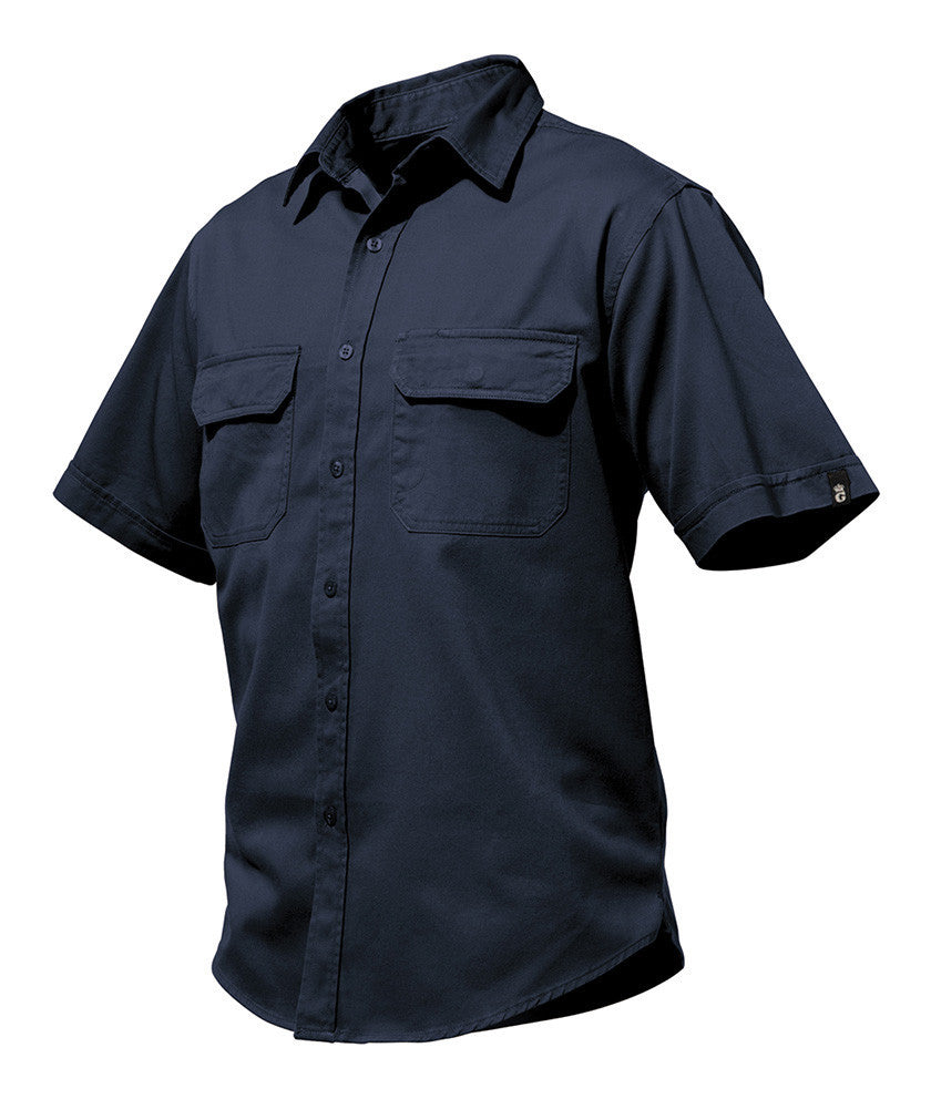 King Gee-KingGee Worn G's Short Sleeve Shirt- 100% Cotton Drill-Navy / S-Uniform Wholesalers - 1