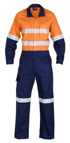 King Gee-King Gee Workcool 2 Refl Spliced Combo Overall Ptn-Orange/navy / 87R-Uniform Wholesalers - 1