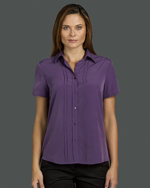 identitee-Identitee Ladies Verona Short Sleeve Easy Care Polyester Blouse--Uniform Wholesalers - 1