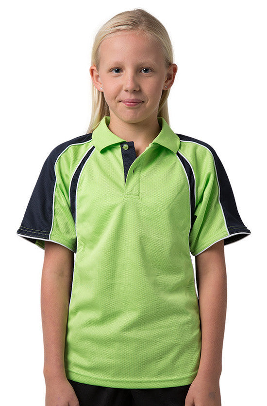 Be Seen-Be Seen Kids Polo Shirt With Contrast Sleeve Edge Piping-Lime-Navy-White / 6-Uniform Wholesalers - 9
