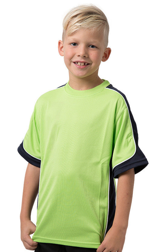 Be Seen-Be Seen Kids Short Sleeve T-shirt-Lime-Navy-White / 6-Uniform Wholesalers - 5