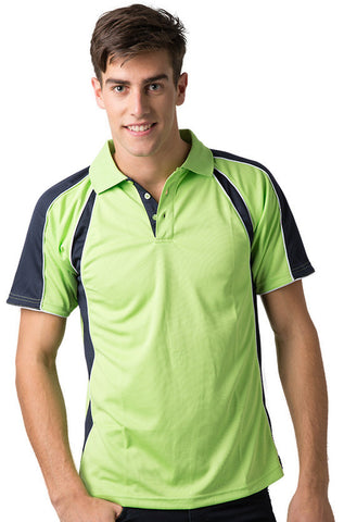 Be Seen-Be Seen Men's Polo Shirt With Contrast Sleeve 2nd( 8 Color )-Lime-Navy-White / XS-Uniform Wholesalers - 1