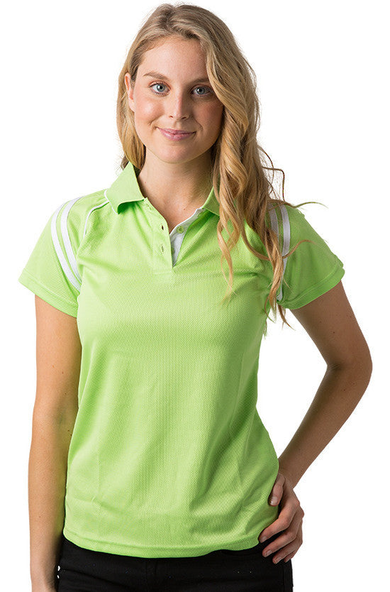 Be Seen-Be Seen Ladies Sleeve Polo Shirt With Striped Collar 1st( 10 Color )-Lime-White / 8-Uniform Wholesalers - 6