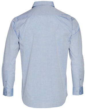 Winning Spirit Men's Fine Chambray Long Sleeve Shirt (M7012)