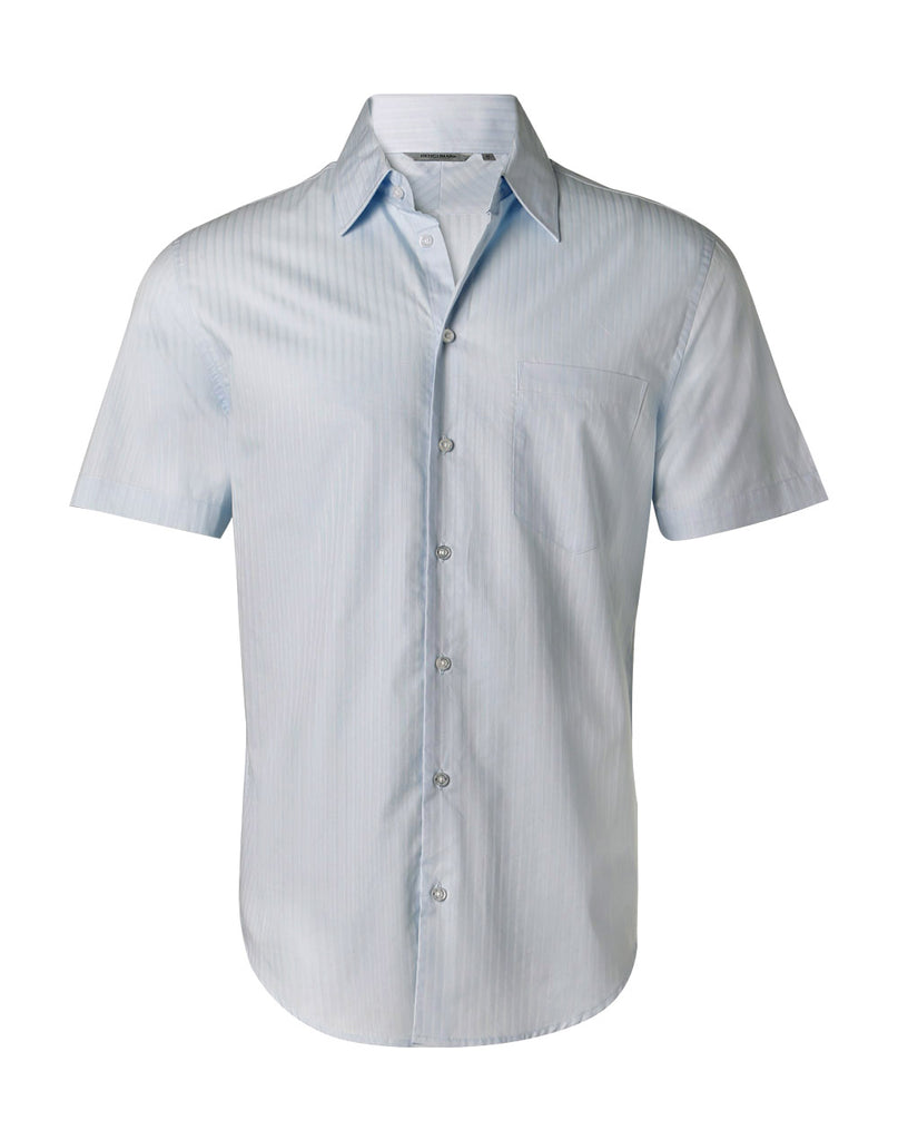 Winning Spirit Men's Self Stripe Short Sleeve Shirt (M7100S)