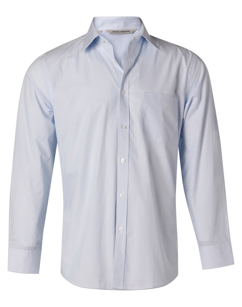 Winning Spirit Men's Fine Stripe Long Sleeve Shirt (M7212)