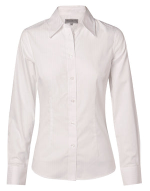Winning Spirit Women's Self Stripe Long Sleeve Shirt (M8100L)