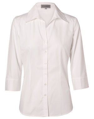 Winning Spirit Women's Self Stripe 3/4 Sleeve Shirt (M8100Q)