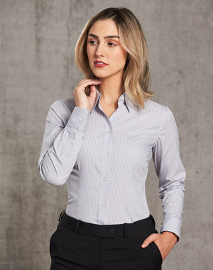 Winning Spirit Women's Ticking Stripe Long Sleeve Shirt (M8200L)