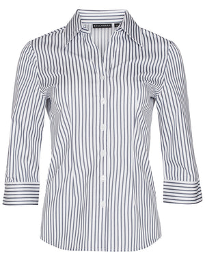 Winning Spirit Women's Sateen Stripe 3/4 Sleeve Shirt (M8310Q)