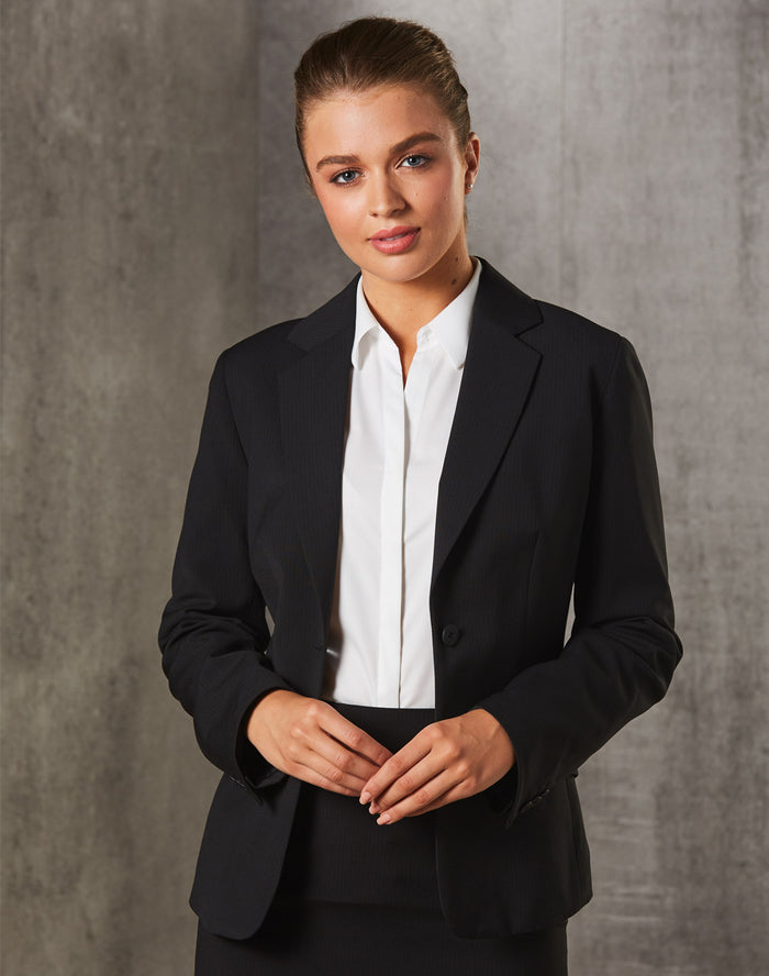 Winning Spirit Women's Poly/Viscose Stretch Stripe One Button Cropped Jacket (M9208)