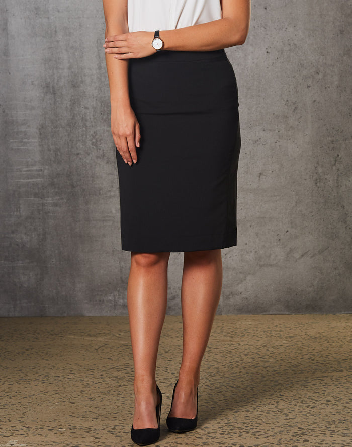 Winning Spirit Women's Poly/Viscose Stretch Stripe Mid Length Lined Pencil Skirt-(M9472)