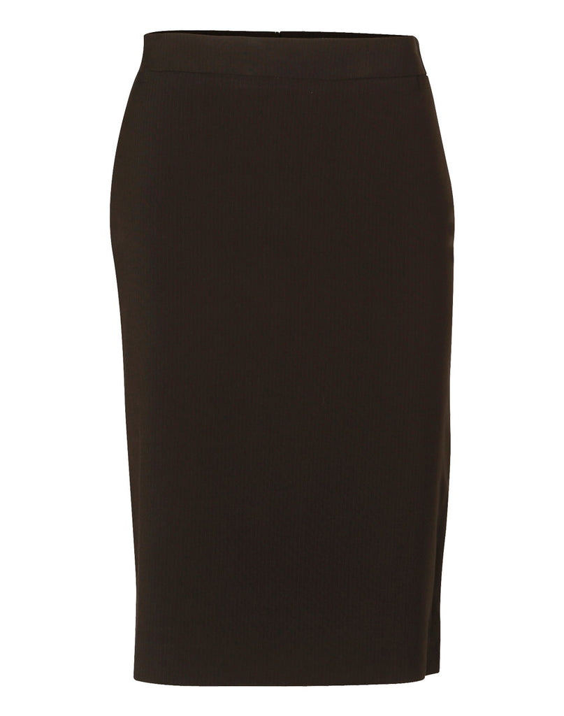 Winning Spirit Women's Poly/Viscose Stretch Stripe Mid Length Lined Pencil Skirt-M9472)