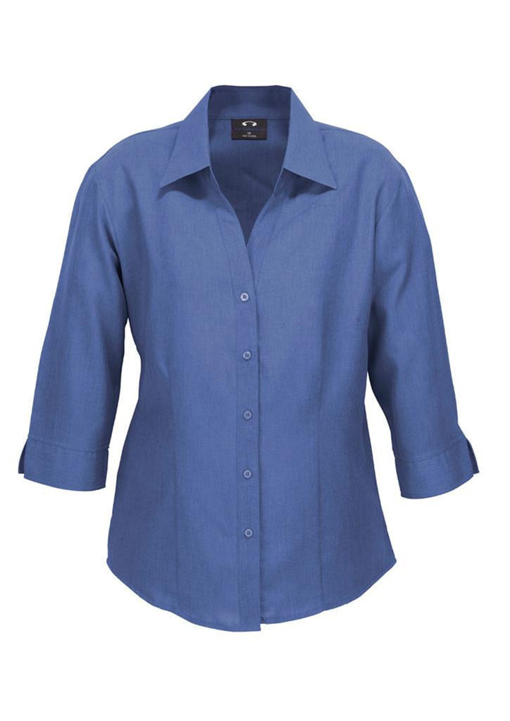 Biz Collection-Biz Collection Ladies Plain Oasis Shirt-3/4 Sleeve-Mid Blue / 6-Uniform Wholesalers - 7