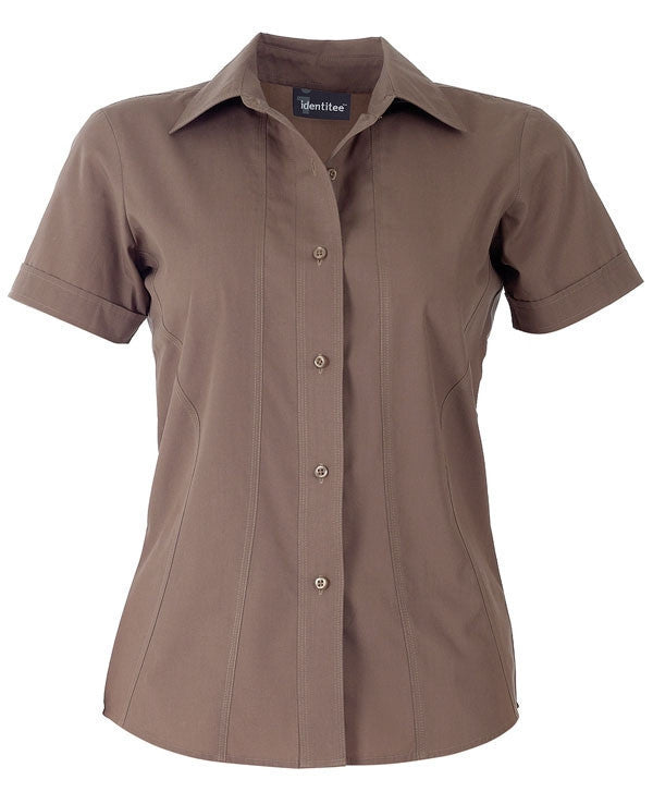 identitee-Identitee Ladies Aston Short Sleeve-Mocha / 8-Uniform Wholesalers - 5