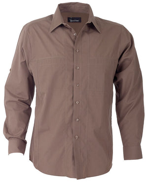 identitee-Identitee Mens Aston Long Sleeve-Mocha / S-Uniform Wholesalers - 5