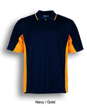 Bocini-Bocini Men's Breezeway Panel Polo(1st 10 colors)-Navy/Gold / S-Uniform Wholesalers - 10