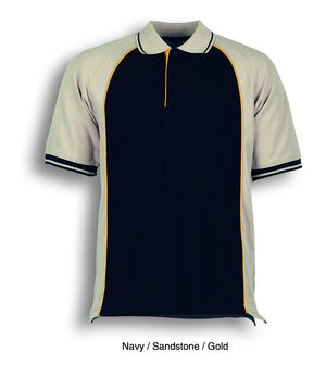 Bocini-Bocini Men's Panel Polo-Navy/Sandstone/Gold / S-Uniform Wholesalers - 3