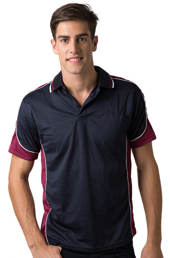 Be Seen-Be Seen Men's Polo Shirt With Striped Collar 4th( 11 Color All Navy )-Navy-Burgundy-White / XS-Uniform Wholesalers - 1