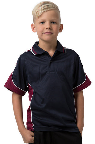Be Seen-Be Seen Kids Polo Shirt With Striped Collar 3rd( 11 Navy Color )-Navy-Burgundy-White / 6-Uniform Wholesalers - 1