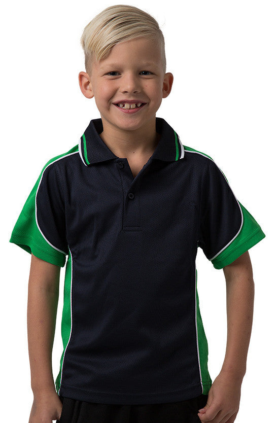 Be Seen-Be Seen Kids Polo Shirt With Striped Collar 3rd( 11 Navy Color )-Navy-Emerald-White / 6-Uniform Wholesalers - 2