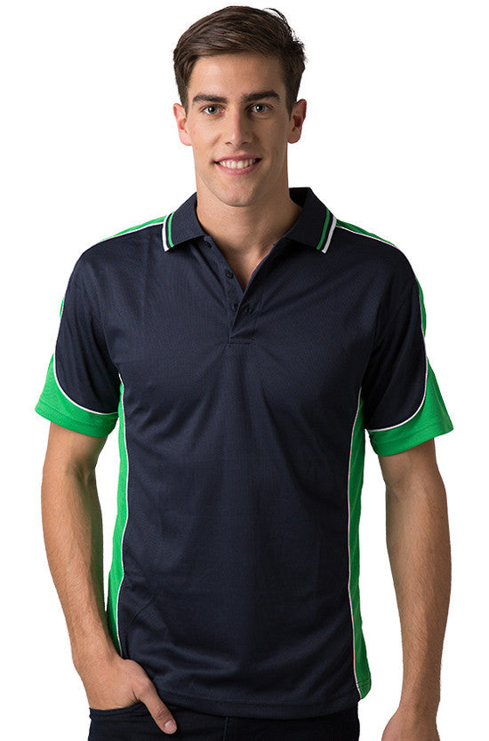 Be Seen-Be Seen Men's Polo Shirt With Striped Collar 4th( 11 Color All Navy )-Navy-Emerald-White / XS-Uniform Wholesalers - 2