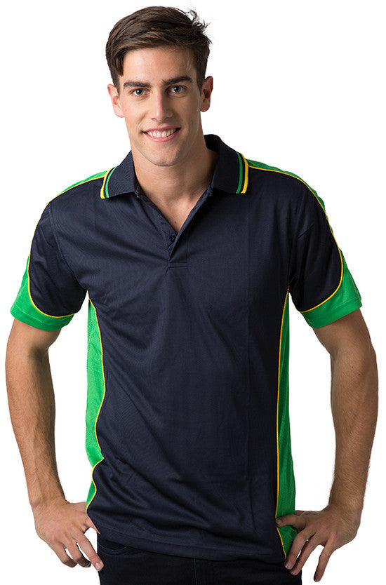 Be Seen-Be Seen Men's Polo Shirt With Striped Collar 4th( 11 Color All Navy )-Navy-Emerald-Yellow / XS-Uniform Wholesalers - 3
