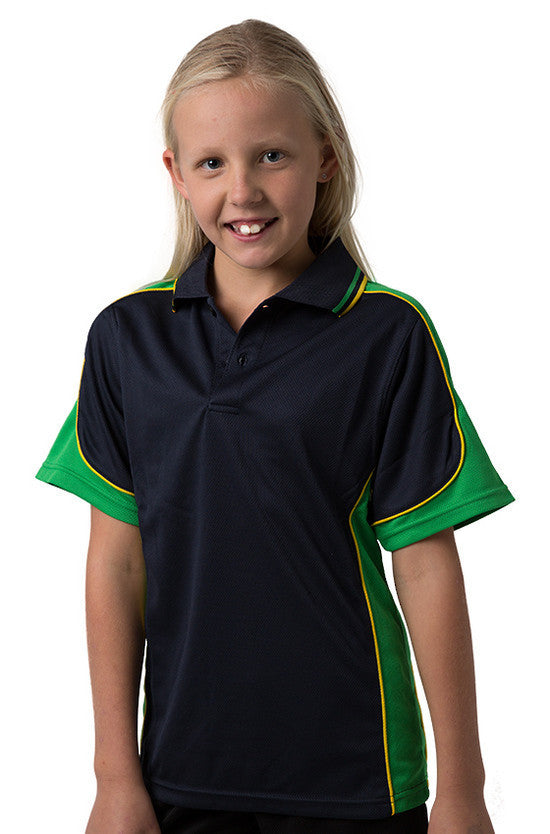 Be Seen-Be Seen Kids Polo Shirt With Striped Collar 3rd( 11 Navy Color )-Navy-Emerald-Yellow / 6-Uniform Wholesalers - 3